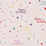 Colorful text. Happy Birthday. Vector seamless pattern Royalty Free Stock Photos
