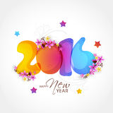 Colorful text 2016 for Happy New Year. Creative colorful text 2016 decorated with beautiful flowers on shiny grey background for Happy New Year celebration Stock Illustration