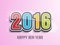 Colorful text for Happy New Year 2016. Creative colorful text 2016 on snowflakes decorated shiny pink background for Happy New Year celebration stock illustration