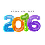 Colorful text for Happy New Year 2016. Glossy colorful text 2016 on white background for Happy New Year celebration royalty free illustration