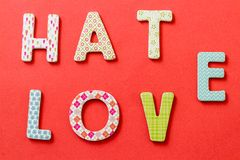 Colorful Text, Hate and Love Stock Image