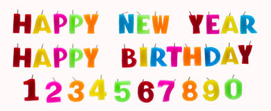 Colorful text and number candles. Stock Photography