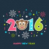 Colorful text for Year of the Monkey celebration. Stylish colorful text 2016 with cute Monkey face on snowflakes decorated background for Chinese New Year Royalty Free Stock Image