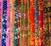 Colorful textile at Asian street market. For shopping industry sale and clothing concepts Royalty Free Stock Photo