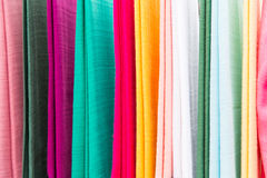 Colorful textile at asian street market Royalty Free Stock Photo