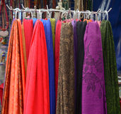 Colorful textile at Asian street market Stock Photography