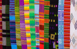 Colorful textile for sale at Asian street market Stock Image