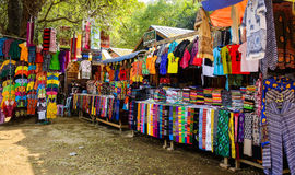Colorful textile for sale at Asian street market Royalty Free Stock Images