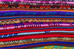 Colorful textile in a shop. In Peru royalty free stock photos