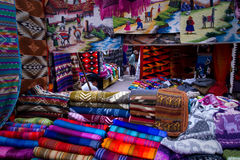 Colorful textile stall in the popular Otavalo Royalty Free Stock Image