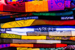 Colorful textiles at a Mexican mmarket. stock image