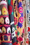 Colorful textiles sold at a street market.  Royalty Free Stock Image