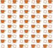 Colorful texture with coffee cups isolated Royalty Free Stock Photography