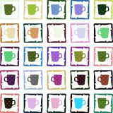 Colorful texture with cups isolated Stock Photos