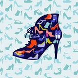 Colorful texture of fashion female shoes,. Fashion footwear background and icons set. Vector illustration Royalty Free Stock Image