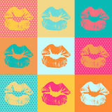 Colorful texture with kisses. Pop art lips Stock Image