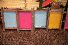 Colorful texture paper on wooden frame for artwork stock images