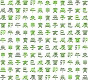 Colorful texture with zodiac Chinese ideograms Stock Photos