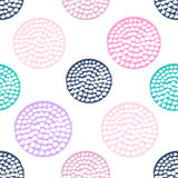 Colorful textured circle seamless pattern, blue, pink, round grunge polka dot Stock Photography