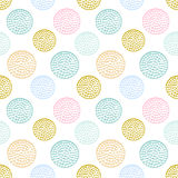Colorful textured circle seamless pattern, blue, pink, yellow round grunge polka dot stock illustration