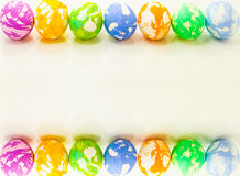 Colorful Easter eggs border. Colorful textured Easter eggs border on top and bottom Royalty Free Stock Photo