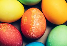 Colorful textured eggs in a close-up shot. Easter tradition. Homemade festive decoration Stock Images