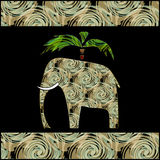 Colorful textured elephant and palm Stock Photography