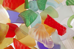 Colorful Textured Glass Pieces. Full frame photo of colorful, broken textured glass pieces that have been tumbled to make them resemble sea glass Stock Photo