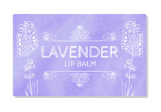 Colorful textured label, sticker for cosmetic products. The packaging design of the lipstick with the taste of lavender. Vector Royalty Free Stock Photography