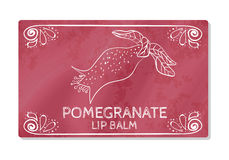 Colorful textured label, sticker for cosmetic products. The packaging design of the lipstick with the taste of pomegranate. Vector Royalty Free Stock Photo