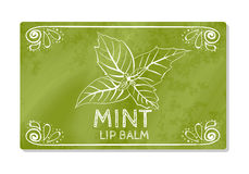 Colorful textured label, sticker for cosmetic products. The packaging design of the lipstick with the taste of refreshing mint. Ve Stock Image