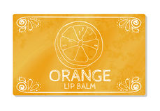 Colorful textured label, sticker for cosmetic products. Packaging design lipstick the taste of sweet orange. Vector Stock Images