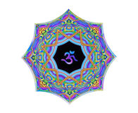 Colorful textured Om/Aum sanskrit symbol, isolated. Stock Image