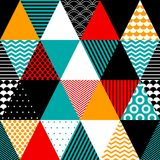 Colorful textured triangles geometric abstract seamless pattern, vector. Background stock illustration