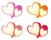 Colorful Textured Valentine Hearts Clip Art royalty free stock images