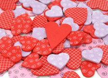 Colorful textured Valentines Day heart-shaped Stock Photography