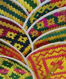 Colorful Thai basket fans royalty free stock photo