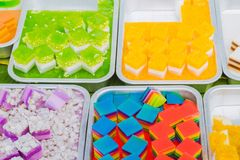 Colorful of Thai Jelly on aluminum tray for sale in street food stock photo