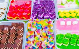 Colorful of Thai Jelly on aluminum tray for sale in street food stock photos