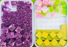 Colorful of Thai Jelly on aluminum tray for sale in street food. Beautiful fancy of Thai sweet desserts royalty free stock photography