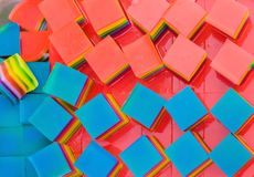 Colorful of Thai Jelly on aluminum tray for sale in street food. Beautiful fancy of Thai sweet desserts stock image