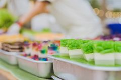 Colorful of Thai Jelly on aluminum tray for sale in street food royalty free stock images
