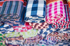 Colorful of thai loincloth Royalty Free Stock Image