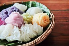 Colorful of Thai rice noodle Stock Photo