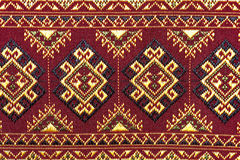 Colorful thai silk handcraft peruvian style rug surface close up Stock Photo