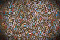 Colorful thai silk handcraft peruvian style rug surface close up More this motif & more textiles peruvian stripe beautiful backgro Royalty Free Stock Photography