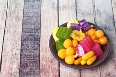 Colorful of Thai steamed layer cake in cube and fried pastry Gol Royalty Free Stock Photography
