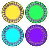 Colorful Thai style Kra Jung circle frame stock illustration