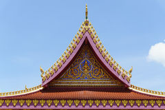 Colorful of Thai temple roof on blue sky with cloud Stock Images