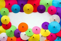 Colorful Thai traditional handmade umbrellas background Royalty Free Stock Image